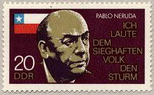 Estampilla en honor a Neruda