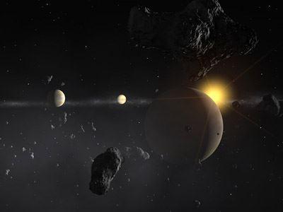 estrella HD 69830 Se dibuja lo más parecido a un sistema solar.
