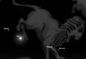 Venus Regulo y Sol 300x209 Venus y Régulo viajan juntas en el reino celestial.