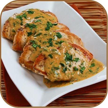 pollo en salsa de mani y nuez