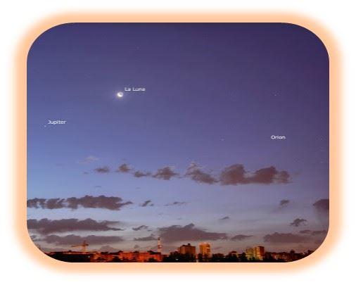 Jupiter Betelgeuse y la Luna Júpiter y Betelgeuse forman un hermoso triangulo con la Luna